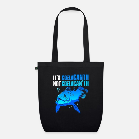 Gift Idea Bags & Backpacks - Coelacanth Extinct fossil fish - Organic Tote Bag black
