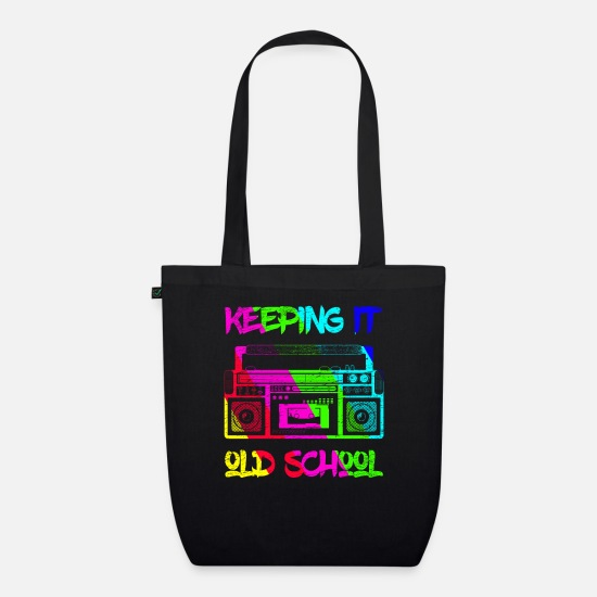 Old School Rap Bags & Backpacks - Keeping It Old School's 80's Boombox Music Radio - Organic Tote Bag black