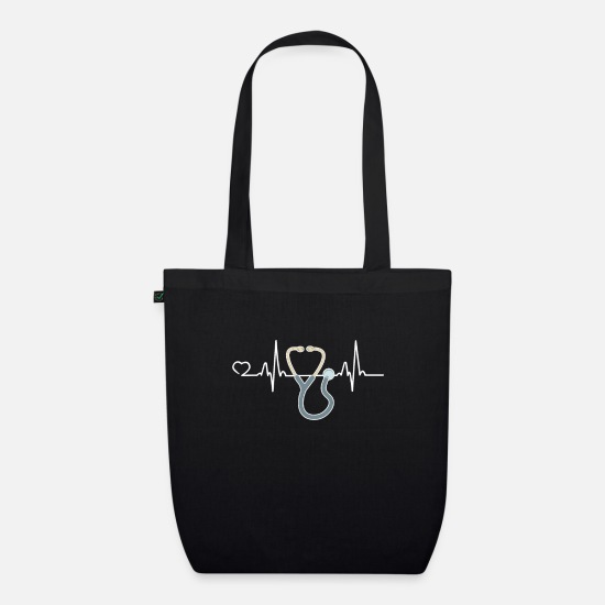College Bags & Backpacks - Doctor Heartbeat Medical Degree Doctorate Gift - Organic Tote Bag black