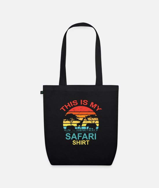 Guide Bags & Backpacks - Safari steppe nature elephant giraffe animals gift - Organic Tote Bag black