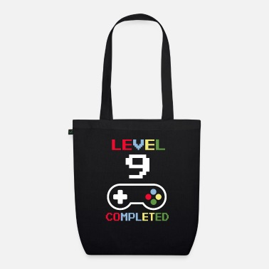 Pixel Birthday Level 9 Completed Gamer gift - Organic Tote Bag