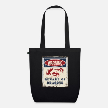 Draconian Dragons Warning Beware - Organic Tote Bag