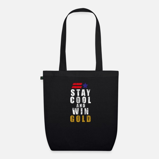 Gold Bags & Backpacks - USA America United States Winter Sports Games Gold - Organic Tote Bag black