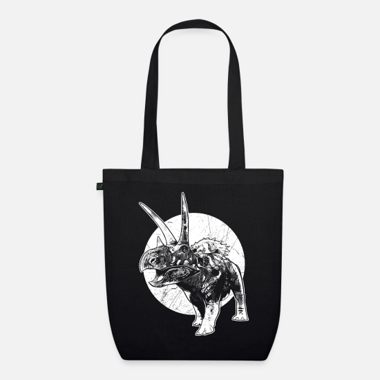 Cretaceous Period Bags & Backpacks - Dinosaur fossil coahuilaceratops wilderness fossil - Organic Tote Bag black