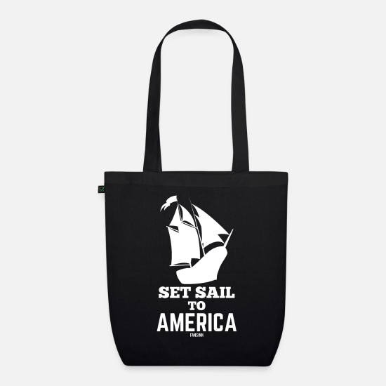 Gift Idea Bags & Backpacks - Christopher Columbus Day sailor USA - Organic Tote Bag black