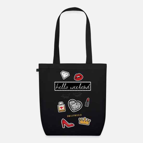 Beauty Bags & Backpacks - Smiley World Hello Weekend Fake Patches - Organic Tote Bag black