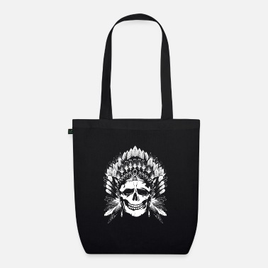 Headdress Chief Skull white motif - Organic Tote Bag