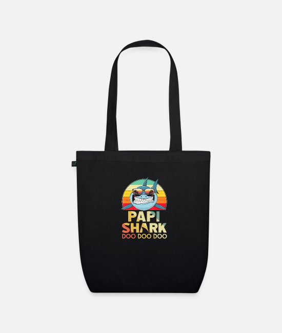 Father's Day Bags & Backpacks - Retro Vintage Papi Shark Tshirt Funny Birthday Gif - Organic Tote Bag black