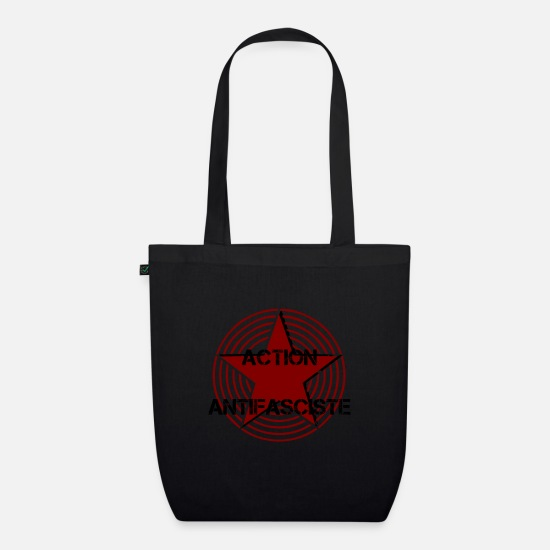 Activist Bags & Backpacks - action antifasciste ANTIFA STAR RED - Organic Tote Bag black