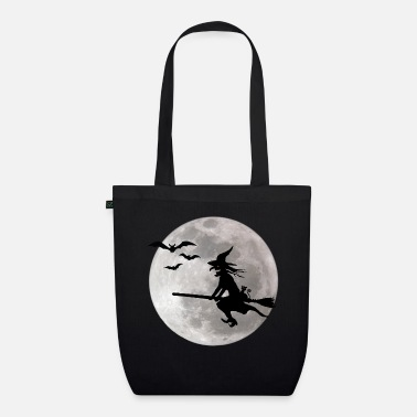 Halloween Halloween witch with a cat flies on the sky - Organic Tote Bag