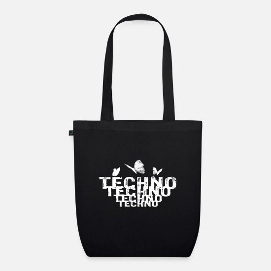 Hardstyle Bags & Backpacks - Techno Butterfly Music EDM Charts Trance Festival - Organic Tote Bag black