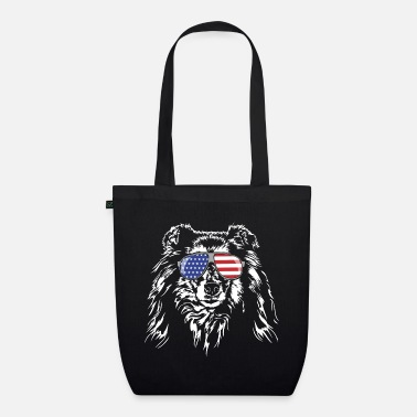 Long-haired Long-haired Herd Dog Long haired COLLIE America flag Wilsigns dogs - Organic Tote Bag