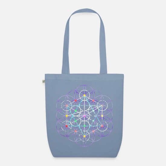 Symbol  Bags & Backpacks - Flower of Life - free Metatronwürfel - Organic Tote Bag steel blue