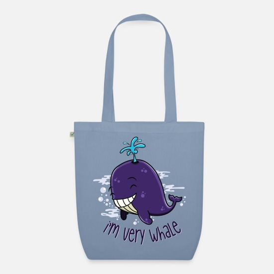 Funny Bags & Backpacks - I'm very whale - Organic Tote Bag steel blue
