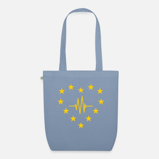 Eu Bags & Backpacks - EU stars as heart with pulse line Europe Brexit - Organic Tote Bag steel blue