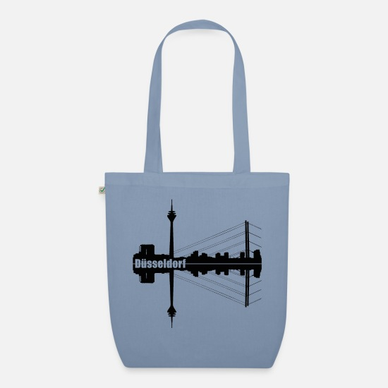 State Capital Bags & Backpacks - Duesseldorf skyline silhouette - Organic Tote Bag steel blue