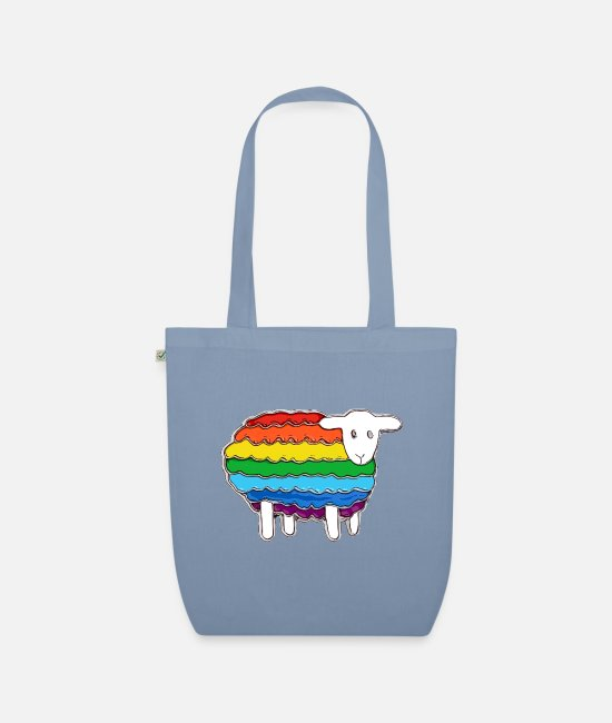 Gay Marriage Bags & Backpacks - Cute Rainbow Flag Sheep - Organic Tote Bag steel blue