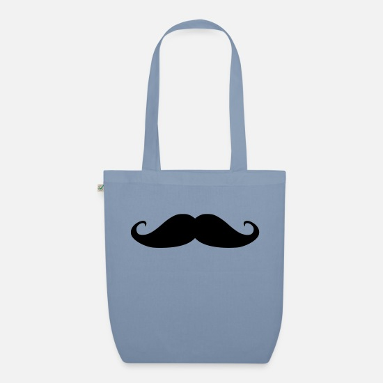 Indie Bags & Backpacks - mustache - Organic Tote Bag steel blue