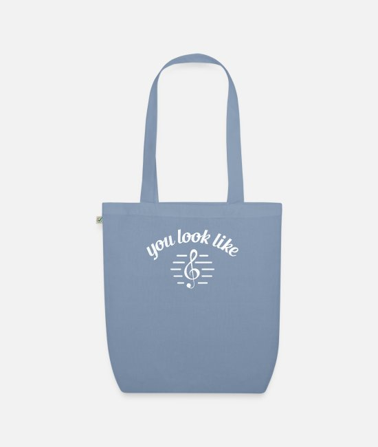 Band Member Bags & Backpacks - Funny Treble Clef You Look Like Trouble Music - Organic Tote Bag steel blue
