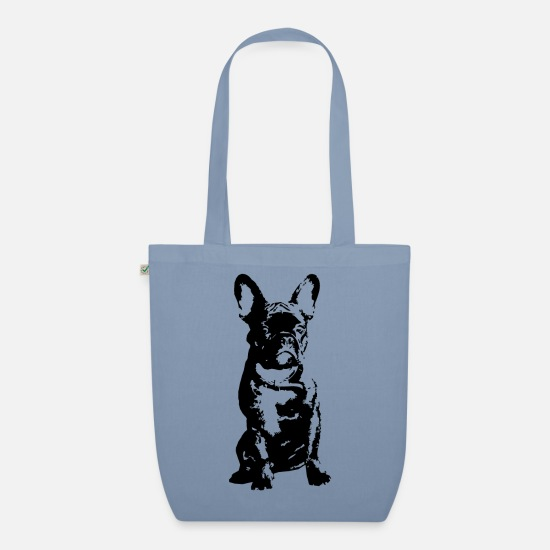 French Bulldog Bags & Backpacks - French Bully - Organic Tote Bag steel blue