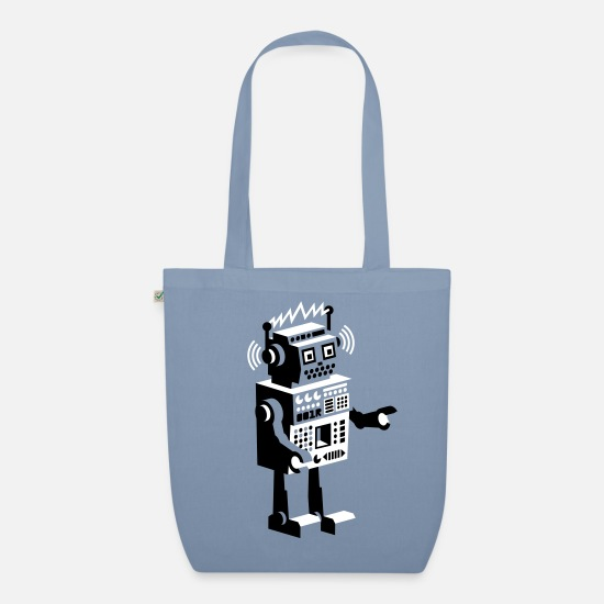 Bestsellers Q4 2018 Bags & Backpacks - roboter retro robot  - Organic Tote Bag steel blue