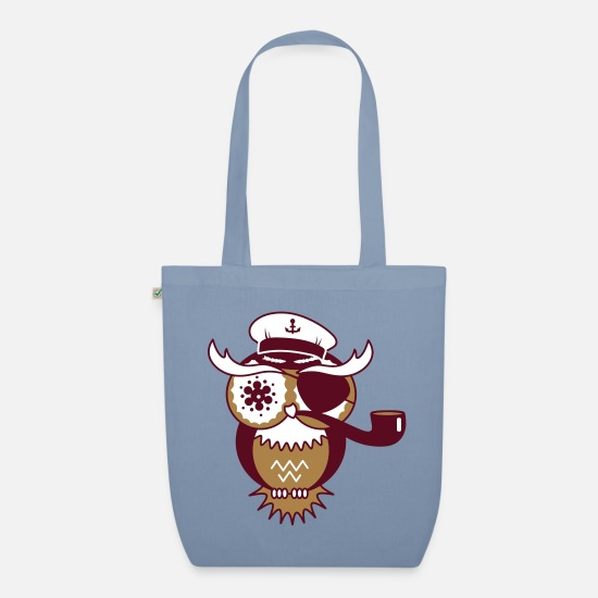 Beak Bags & Backpacks - An owl with captain's hat, eye patch and pipe - Organic Tote Bag steel blue
