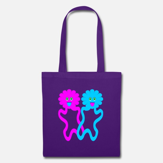 Love Bags & Backpacks - Couple of daisy flowers in love - Tote Bag purple