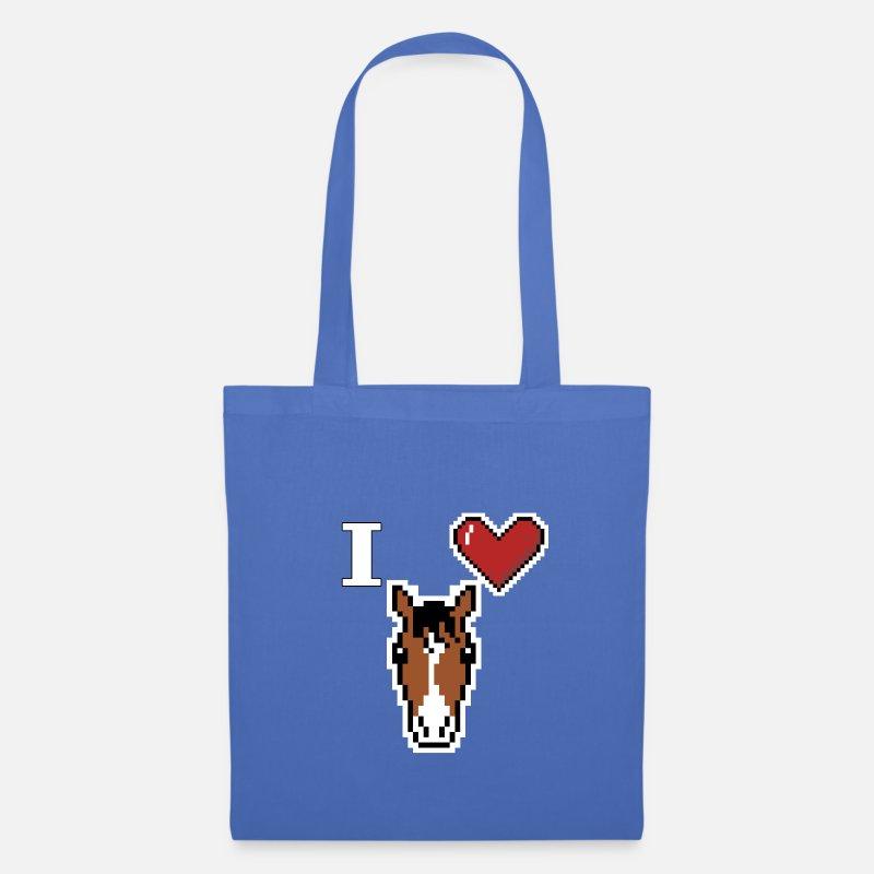 Jaime Les Chevaux I Love Horse Pixel Art Tote Bag Bleu Pâle
