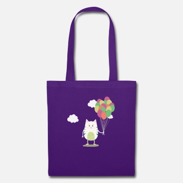 Cute Cats Cute Cat with balloons Sjlus - Tote Bag