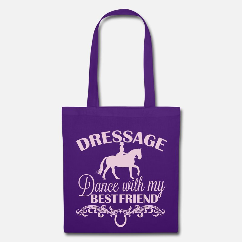 Dressage Horse Bags & Backpacks - Dressage  Dance with my best friend - Tote Bag purple