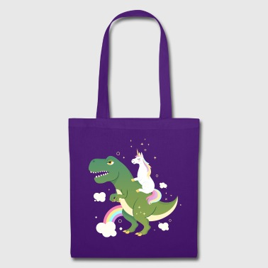 Unicorn Riding On Dinosaur - Bolsa de tela