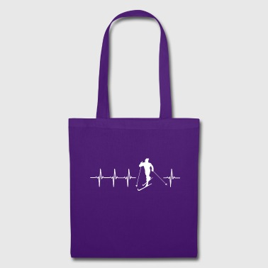 I love cross-country skiing (cross-country skiing heartbeat) - Tote Bag