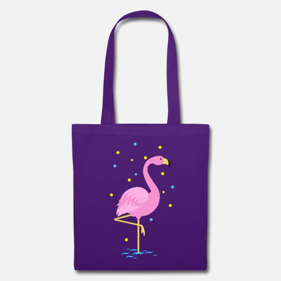 First Bags & Backpacks - Animal Planet Cute Flamingo Illustration - Tote Bag purple