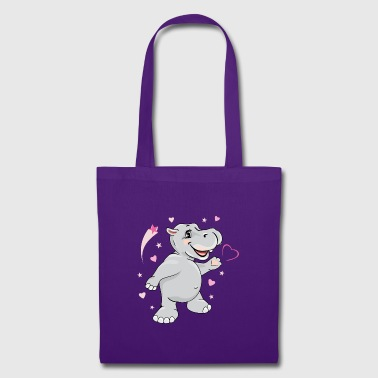 Happy enamored hippo - Tote Bag
