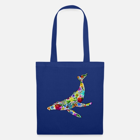 Marine Animal Bags & Backpacks - Humpback whale filled with flowers - version 1 - Tote Bag royal blue
