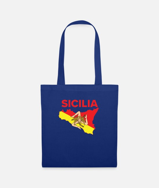 Proud Bags & Backpacks - Sicilian Pride - Map of Sicily Trinacria - Tote Bag royal blue