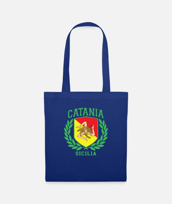Proud Bags & Backpacks - Sicilia Flag and Shield with Trinacria - Catania - Tote Bag royal blue