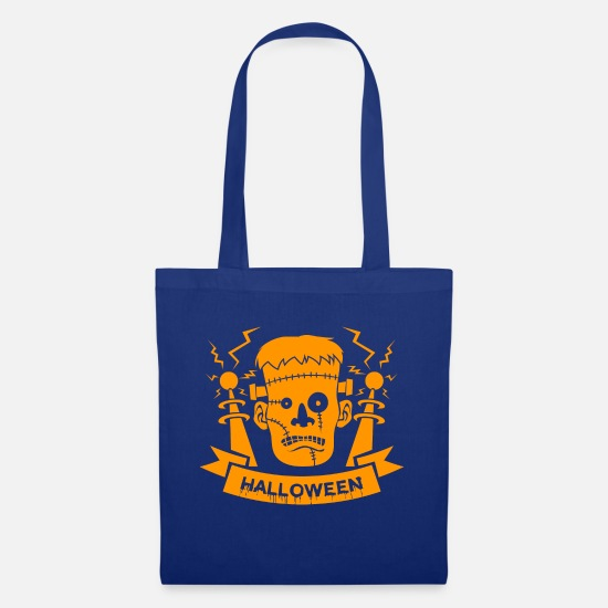Witches Broom Bags & Backpacks - Happy Halloween Frankenstein Trick or Treat - Tote Bag royal blue