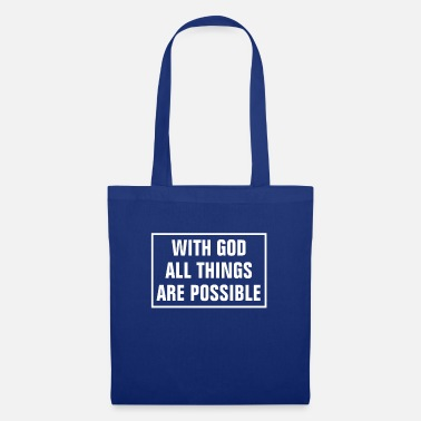 Cross In God All Things Are Possible - Christian - Tote Bag
