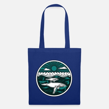 Collections Humpback whale family marine animals sun ocean sea 2 - Tote Bag