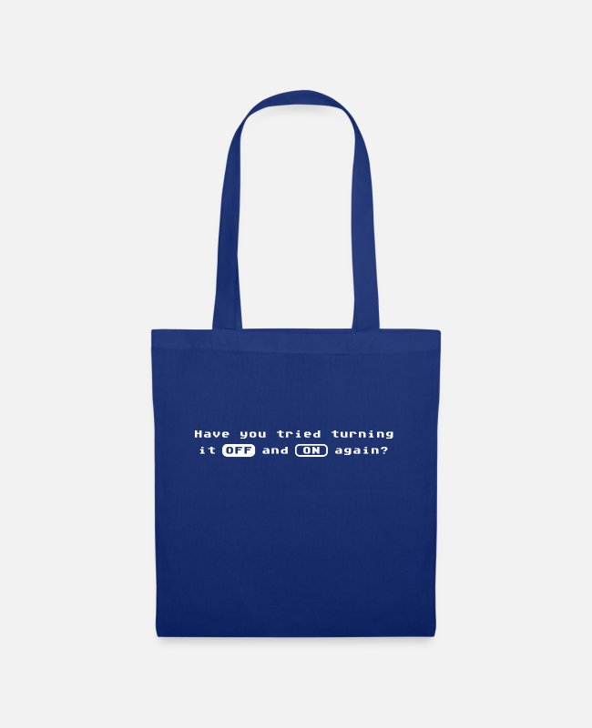 Virus Bags & Backpacks - Computer Quote - OFF and ON Again Tech Support - Tote Bag royal blue