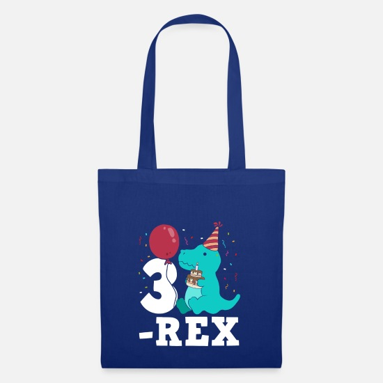 Rex Bags & Backpacks - Three Rex T-Rex Birthday Gift for Three Year Olds - Tote Bag royal blue