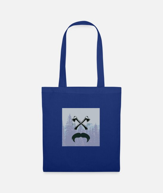 Hipster Bags & Backpacks - Hipster responsibility beard glasses ax forest - Tote Bag royal blue