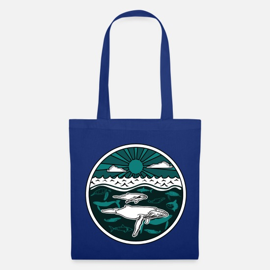 Whale Bags & Backpacks - Humpback whale family marine animals sun ocean sea 2 - Tote Bag royal blue