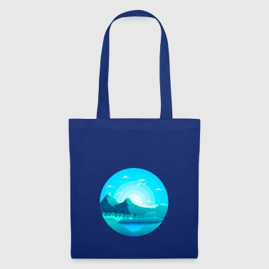 Mountains with forest with lake at sunrise - Tote Bag