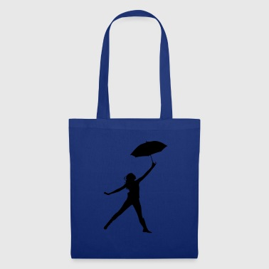Silhouette women umbrella dancing - Stoffbeutel