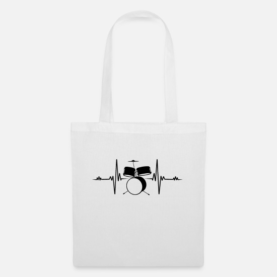 Drum Bags & Backpacks - Drummer Heartbeat Drummer Drums Fun Gift - Tote Bag white