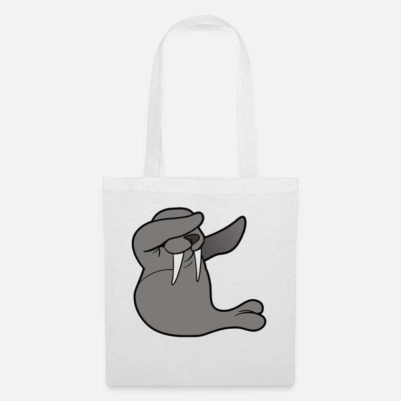 Manatee Bags & Backpacks - Dabbing Dab Dancing walrus manatee seal Robbe - Tote Bag white