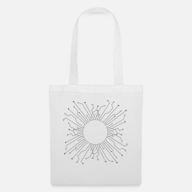 e2fa397bdbdd round circle logo design cool circuit wire date Tote Bag