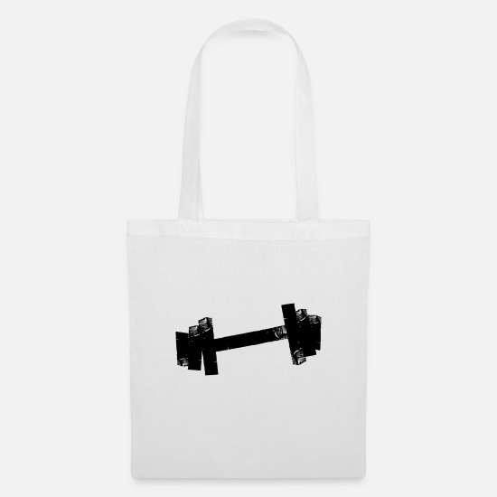 Body Builder Bags & Backpacks - Dumbbell tape - Tote Bag white